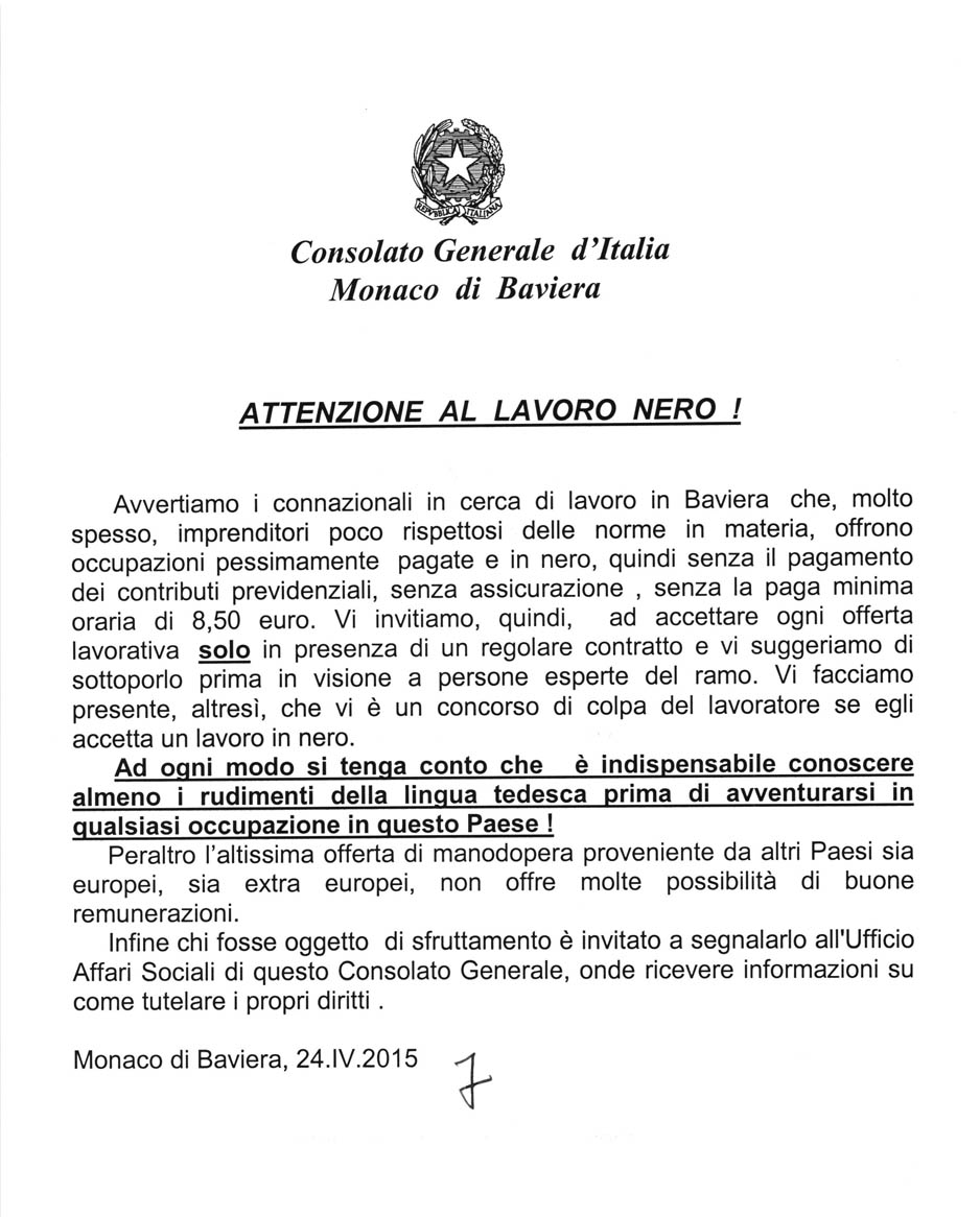 """Monaco di Baviera: Avviso del Consolato Generale d'Italia sul """"lavoro nero"""""""